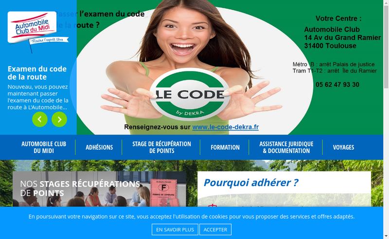 Capture d'écran du site de Automobile Club du Midi