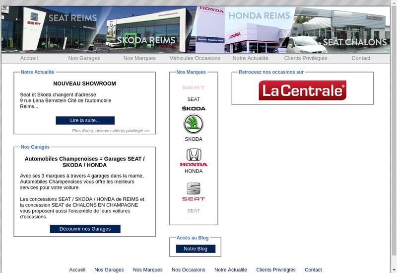 Capture d'écran du site de Automobiles Champenoises