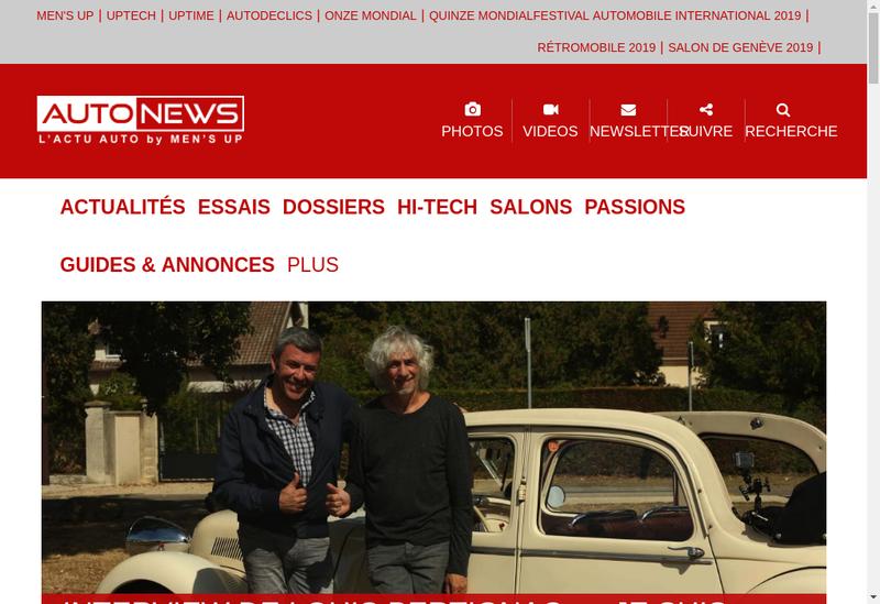Capture d'écran du site de Auto News