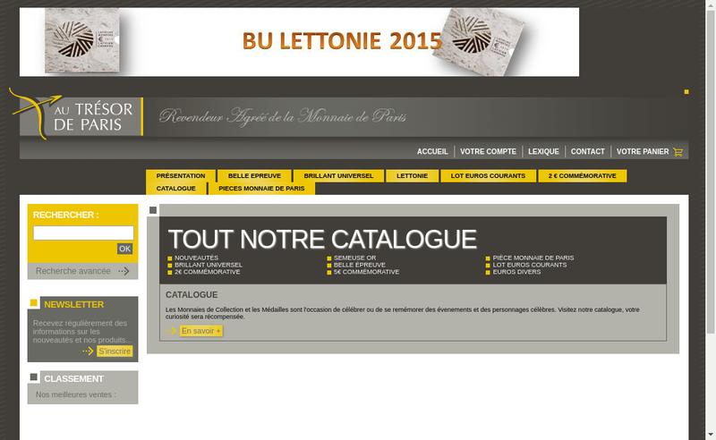 Capture d'écran du site de Au Tresor de Paris