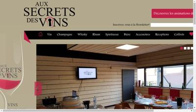 Site internet de Aux Secrets des Vins