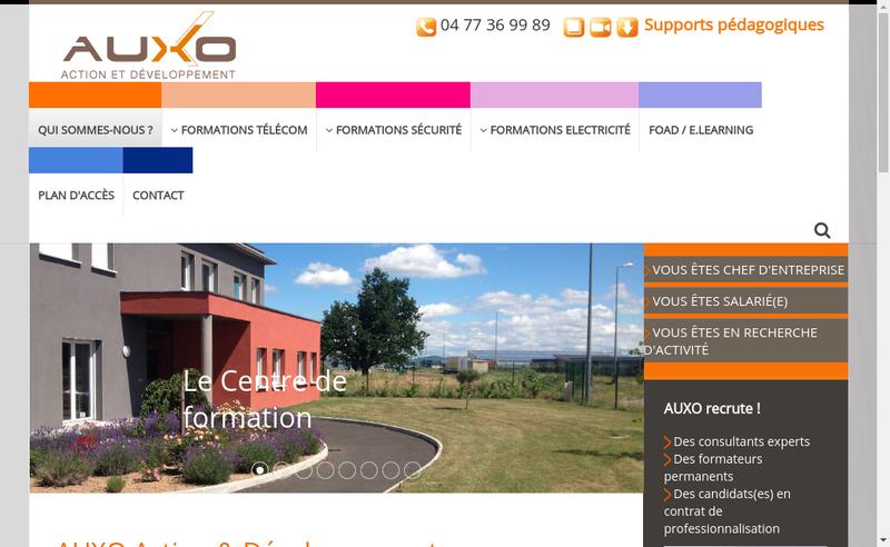 Capture d'écran du site de Auxo Action & Developpement