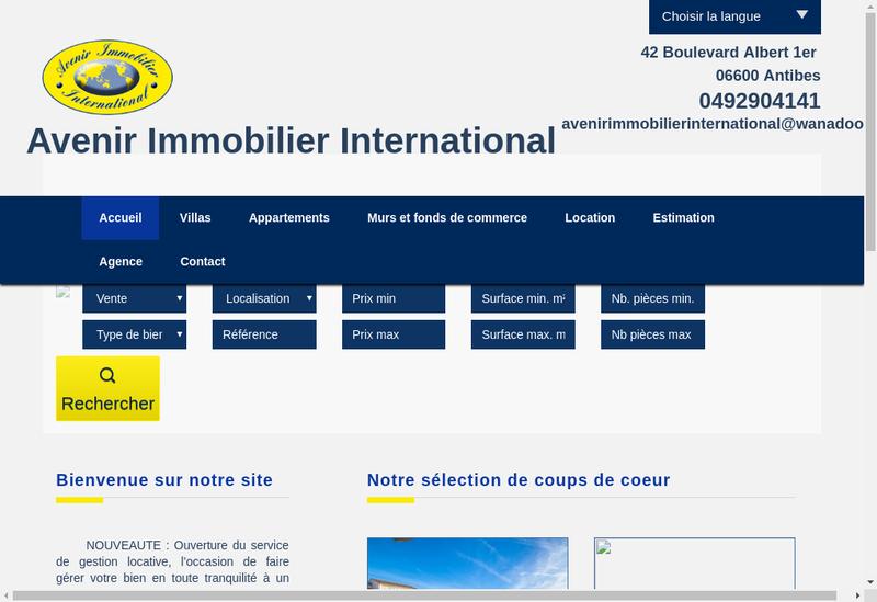 Capture d'écran du site de Avenir Immobilier International