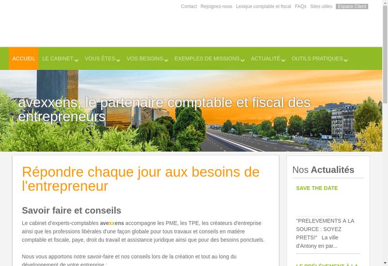 Capture d'écran du site de Avexxens