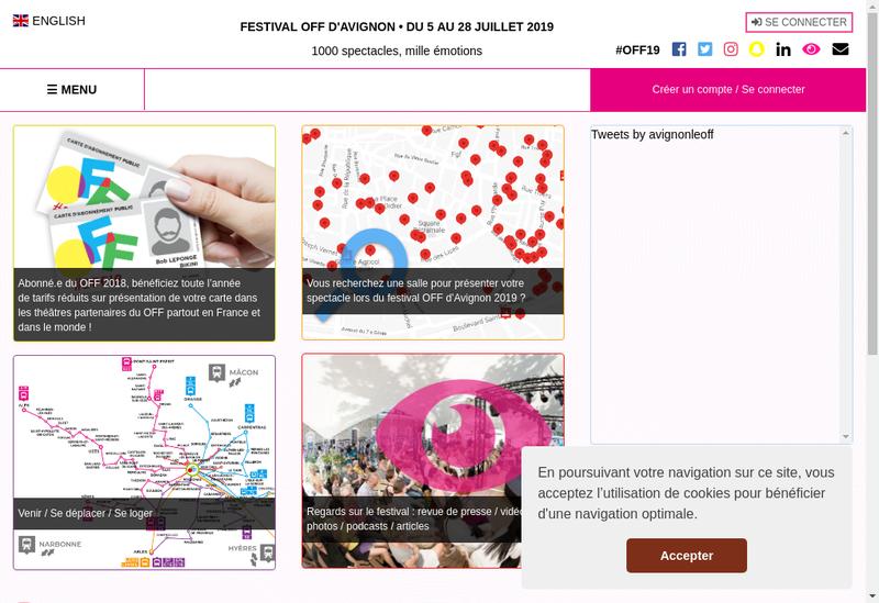 Capture d'écran du site de Avignon Festival et Compagnies