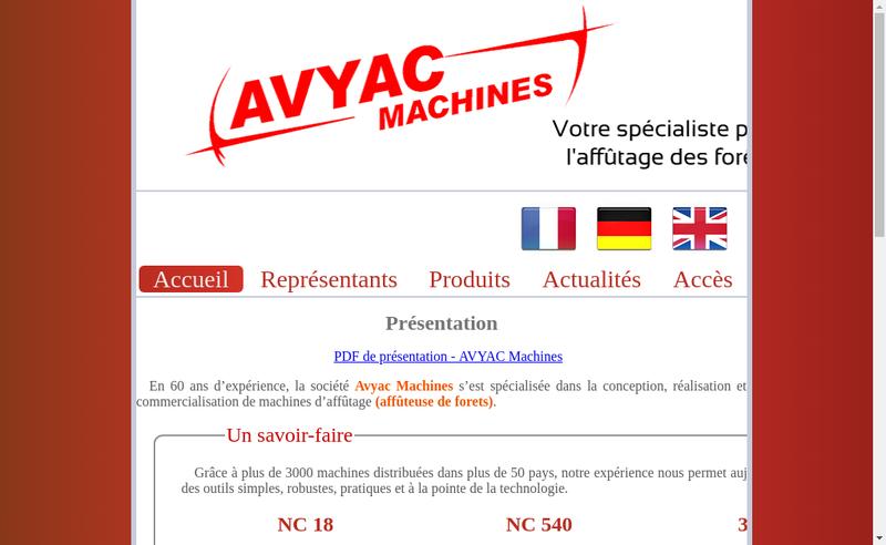 Capture d'écran du site de Avyac Machines