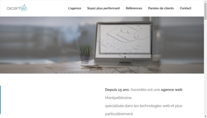 Capture d'écran du site de Axcenteo