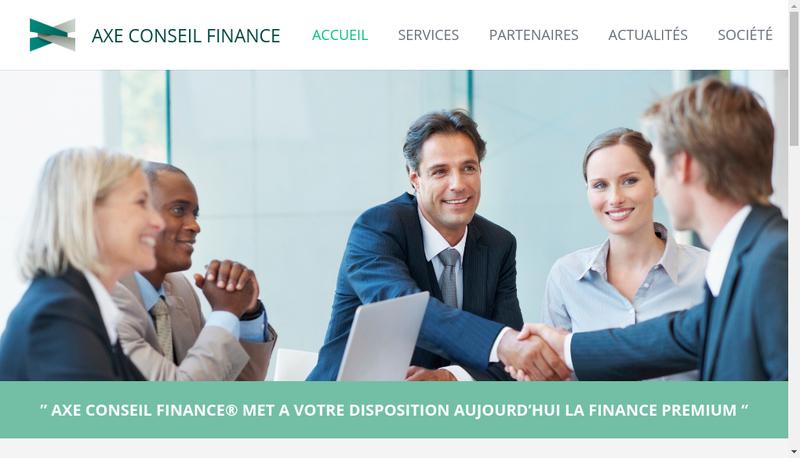 Capture d'écran du site de Axe Conseil Finance