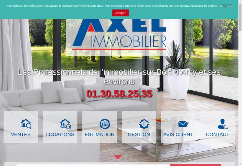 Capture d'écran du site de Axel Immobilier
