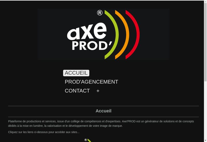 Capture d'écran du site de Axeprod