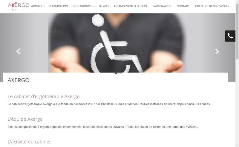 Capture d'écran du site de Cabinet d'Ergotherapie Axergo