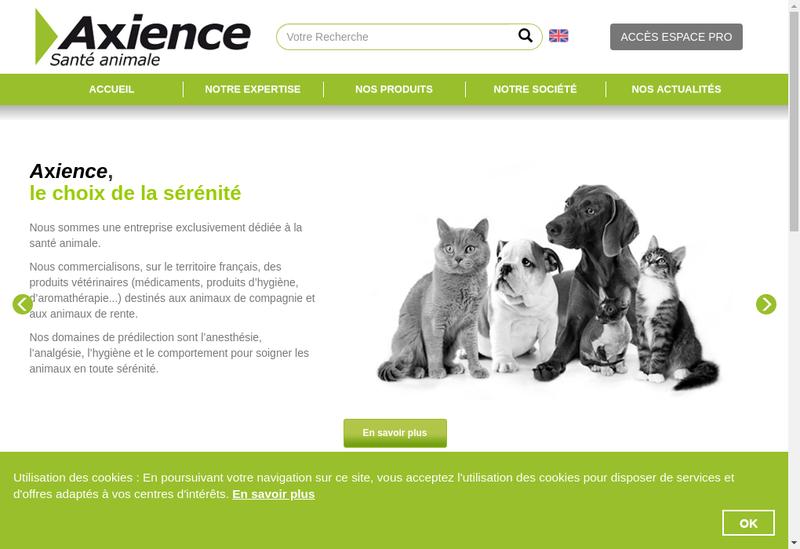 Capture d'écran du site de Axience