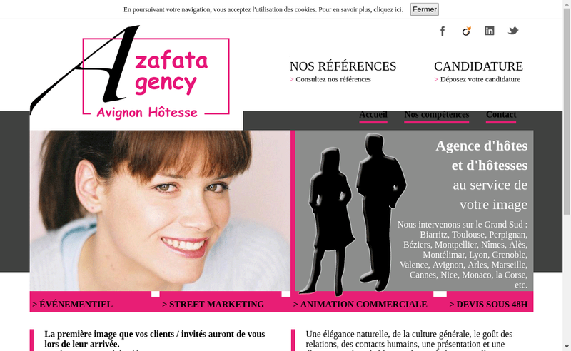 Capture d'écran du site de Azafata-Agency