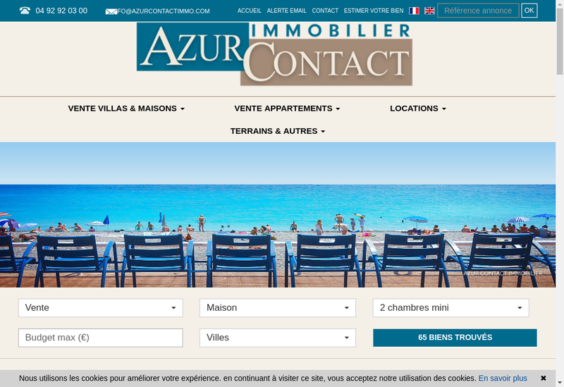 Capture d'écran du site de Azur Contact Immobilier