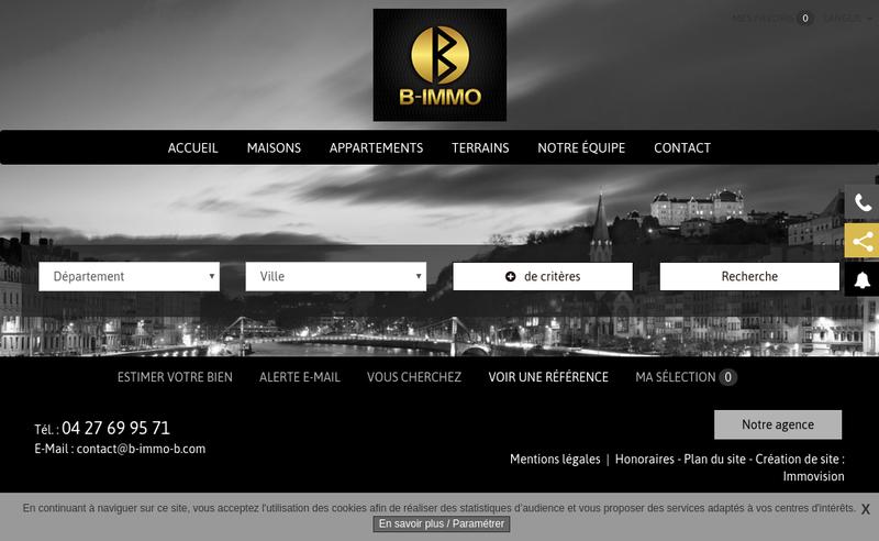Capture d'écran du site de B'Immo