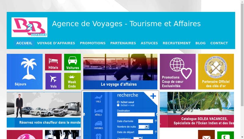 Capture d'écran du site de B2B Voyages