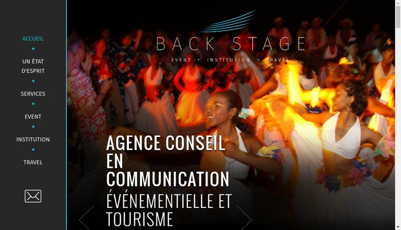 Capture d'écran du site de Back Stage Evenements