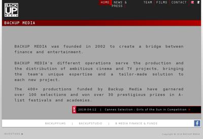 Capture d'écran du site de Backup Films