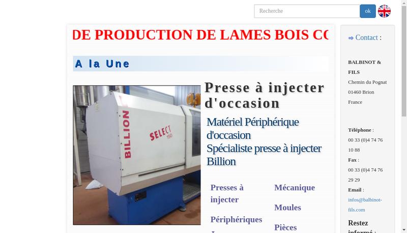 Capture d'écran du site de Balbinot et Fils