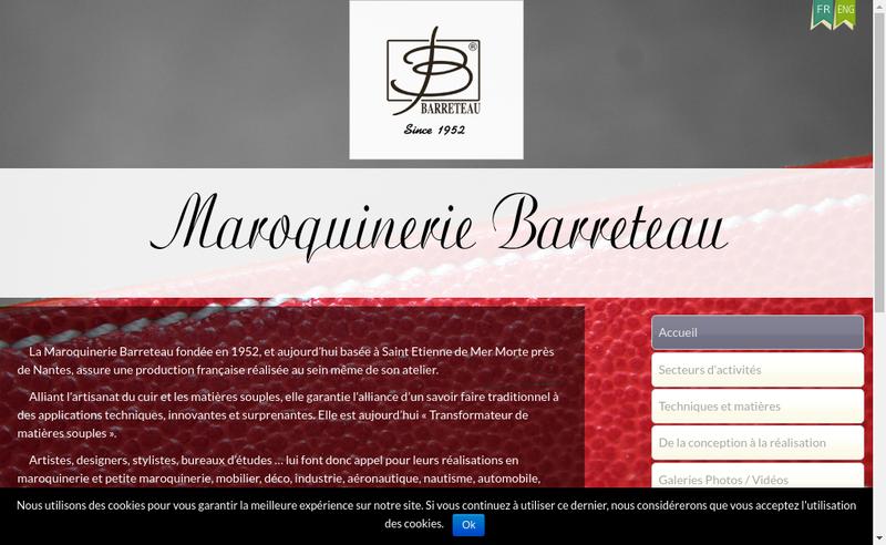 Capture d'écran du site de Maroquinerie Barreteau