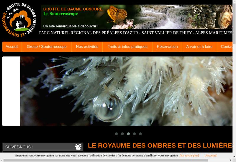 Capture d'écran du site de Grotte de Baume Obscure