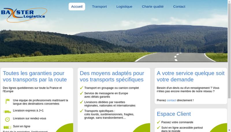 Capture d'écran du site de Baxster Logistics