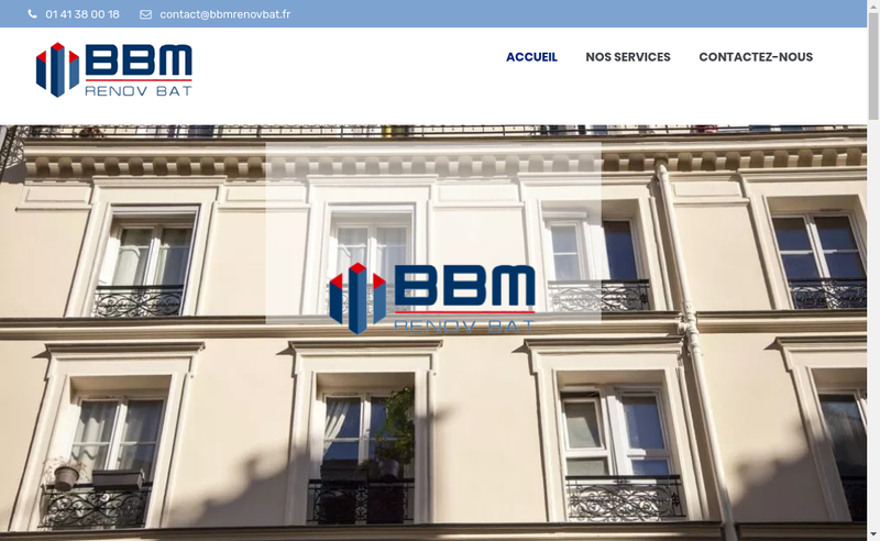 Capture d'écran du site de Bbm Renov Bat