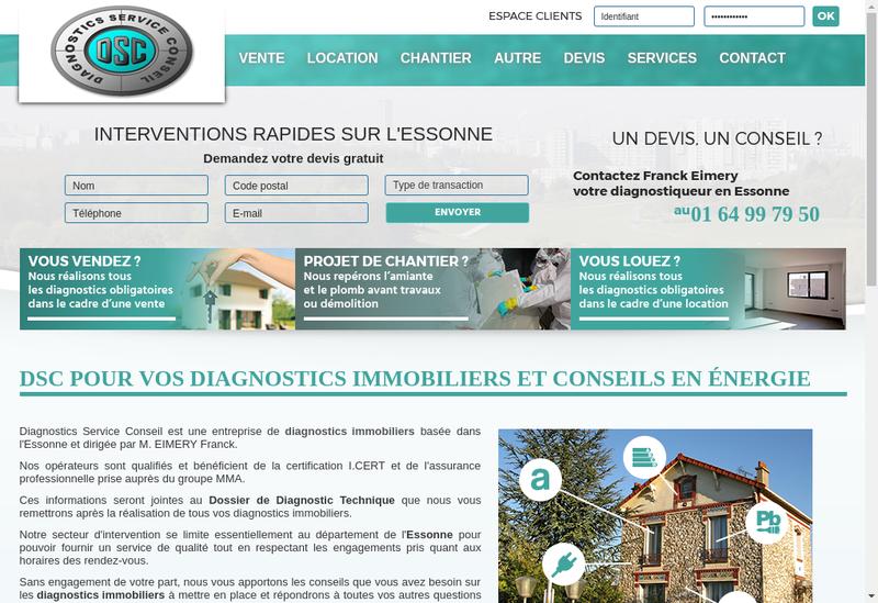 Capture d'écran du site de DSC