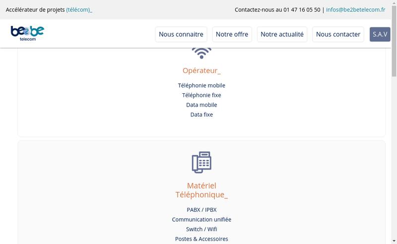 Capture d'écran du site de Be2Be Telecom