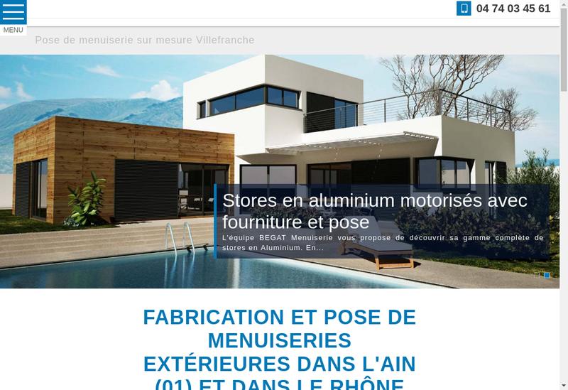 Capture d'écran du site de Begat Menuiserie