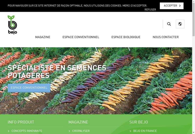 Capture d'écran du site de Bejo Graines France