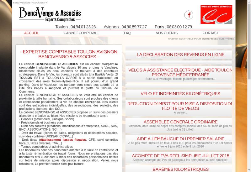 Capture d'écran du site de Bencivengo et Associes Avignon