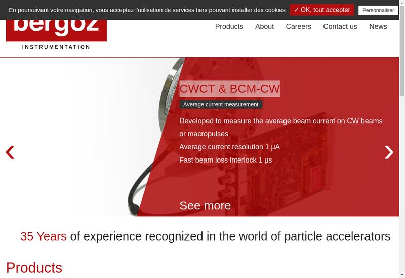 Capture d'écran du site de Bergoz Instrumentation