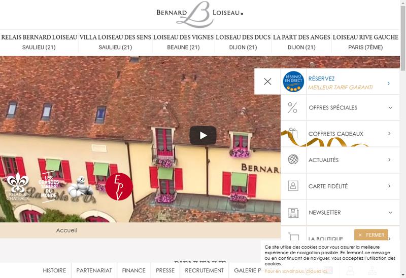 Capture d'écran du site de Relais Bernard Loiseau