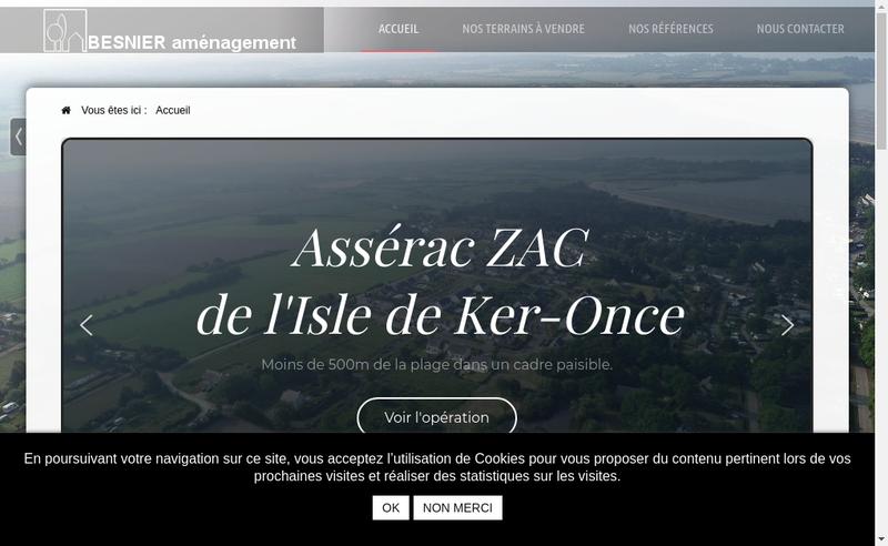 Capture d'écran du site de Besnier Amenagement