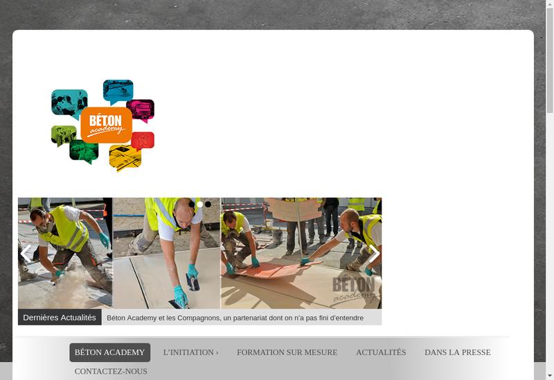 Capture d'écran du site de Beton Academy