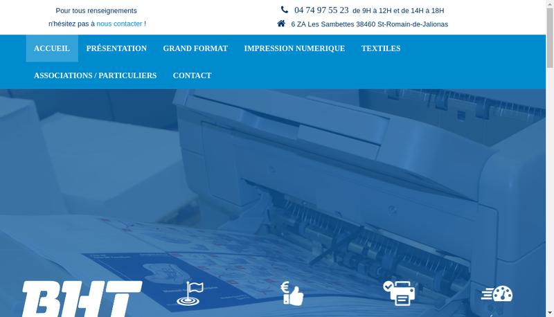 Capture d'écran du site de BHT Services