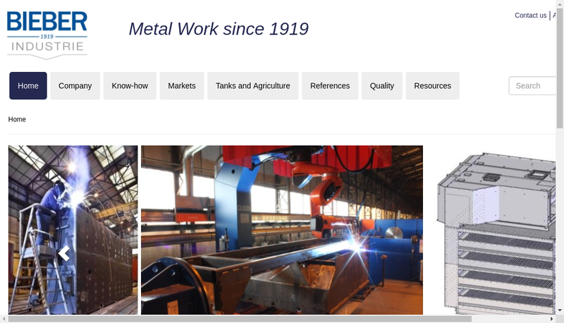 Capture d'écran du site de Bieber Industrie