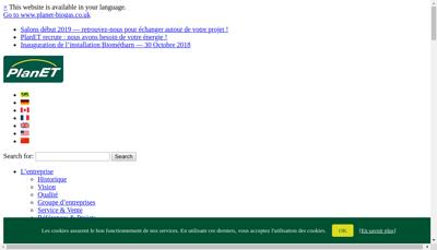 Capture d'écran du site de Biogaz Planet France