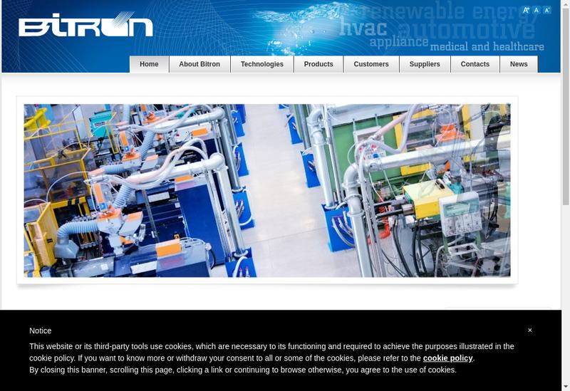 Capture d'écran du site de Bitron Ind Marketing France