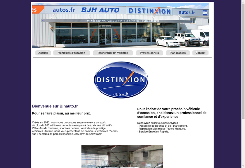 Capture d'écran du site de Bjh Auto