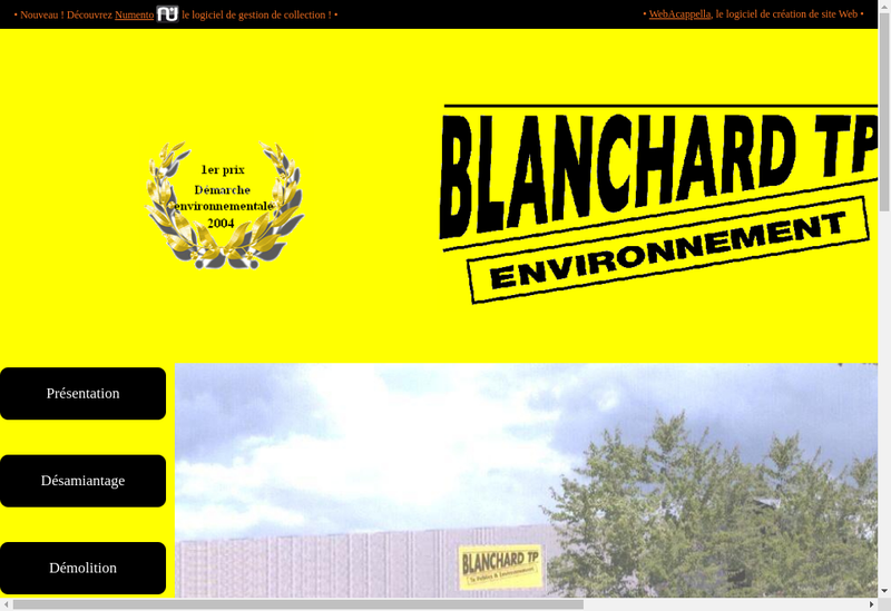 Capture d'écran du site de Eco Amiante