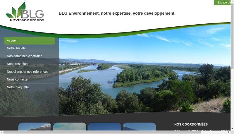 Capture d'écran du site de Blg Environnement