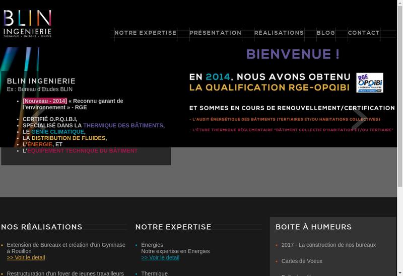 Capture d'écran du site de Be Blin