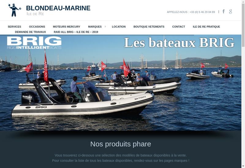 Capture d'écran du site de Blondeau Marine