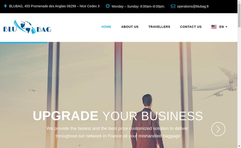 Capture d'écran du site de Blubag