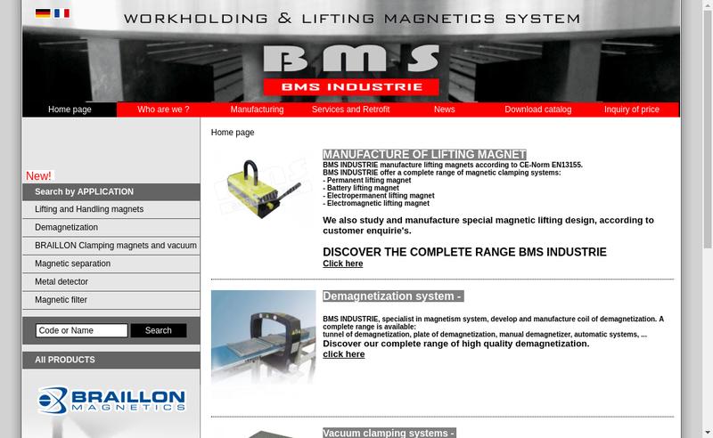 Capture d'écran du site de Bms Industrie