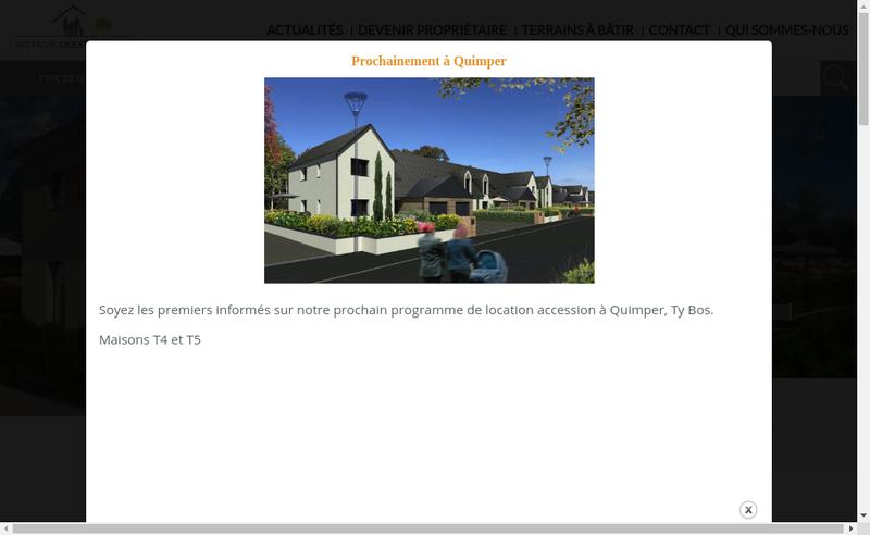Capture d'écran du site de Bretagne Ouest Accession