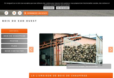 Capture d'écran du site de Bois du Sud Ouest