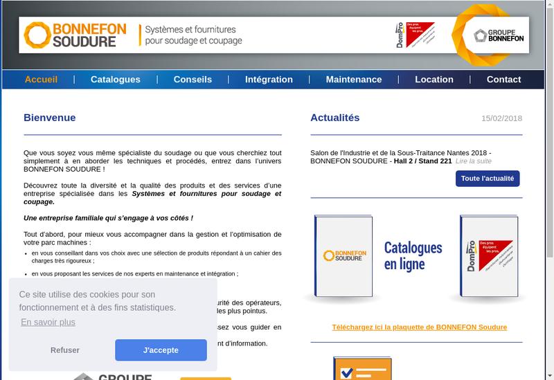 Capture d'écran du site de Bonnefon SAS